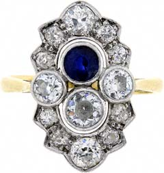 Sapphire and Diamond Fancy 'Art Deco Style' Cluster