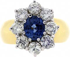 Oval Sapphire and Diamond Cluster on a Domed Band