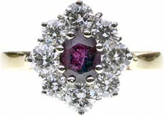 Ruby and Diamond Oval Cluster