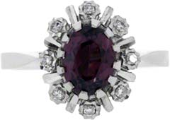 Oval Ruby and Diamond Cluster