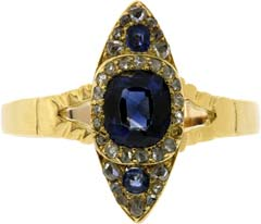 Second Hand Sapphire and Diamond Fancy Cluster