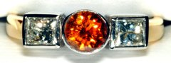 Diamond 3 Stone Ring #3533 with Orange Diamond