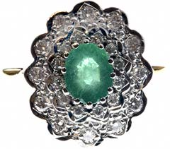 Oval Emerald with Baguette Diamonds Flower Cluster