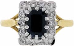 Octagon Sapphire and Diamond Cluster