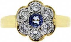 Victorian Style Sapphire and Diamond Cluster Ring