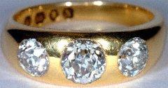 Gent's Heavy Three Stone Ring