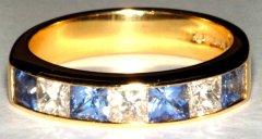 Ceylon Sapphire & Princess Cut Diamonds
