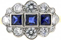 Triple Row Sapphire and Diamond Cluster Ring
