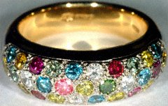 Domed Multicoloured Wedding or Dress Ring