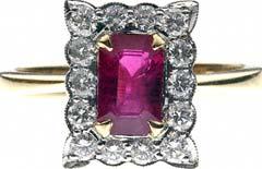 Rectangular Ruby & Diamond Cluster