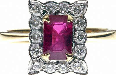 Rectangular Ruby and Diamond Cluster
