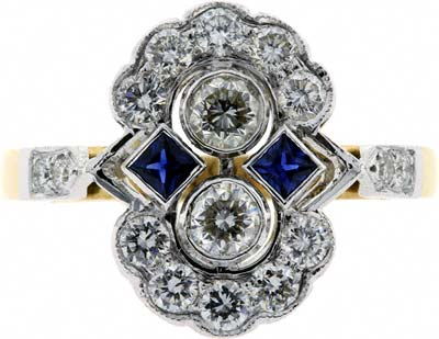 Sapphire and Diamond 'Art Deco Style' Cluster