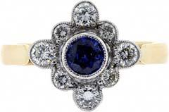 'Diamond' Shaped Sapphire and Diamond Cluster