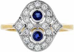 Twin Sapphire & Diamond Cluster in Figure of Eight