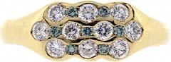 Enhanced Green and White Diamond Triple Band Dress Ring