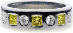 Enhanced Yellow And White Diamond Set Wedding Ring