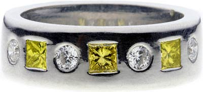 Yellow and White Diamond Wedding Ring