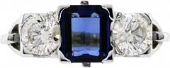 Octagonal Sapphire & Diamond Three Stone Ring with Fancy Shoulders
