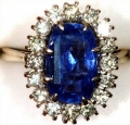 Secondhand Oval Sapphire & Diamond Cluster