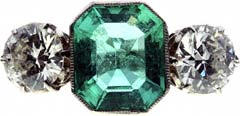 Emerald Cut Three Stone Emerald and Diamond Ring