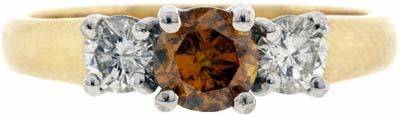 Orange Diamond Solitaire Ring