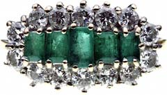 Second Hand Emerald and Diamond Along Cluster