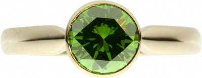 Enhanced Green Solitaire Diamond Ring