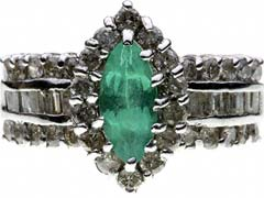 Second Hand Fancy Emerald and Diamond Cluster
