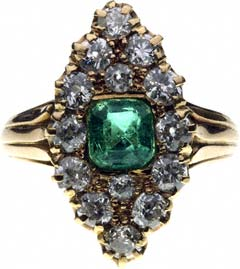 Second Hand Marquise Shaped Emerald and Diamond Cluster
