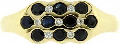 Modern Triple Row Sapphire and Diamond Cluster Ring