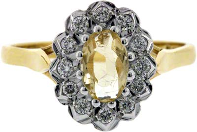 Yellow Topaz and Diamond Cluster
