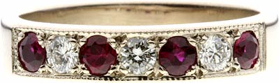 Seven Stone Ruby & Diamond Half Eternity in White Gold