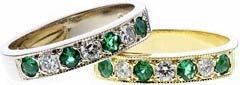 Emerald and Diamond Eternity Rings
