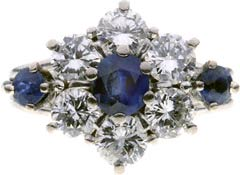 Twin Sapphire & Diamond Cluster in Figure of Eight