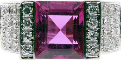 Second Hand Pink Tourmaline and Diamond Cluster