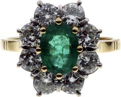 Traditional Oval Emerald and Diamond Cluster