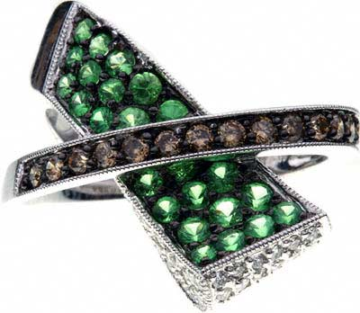 Second Hand Green Garnet and Diamond Dress Ring