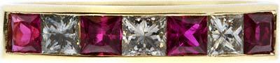 Princess Cut White Diamond & Ruby Eternity Ring