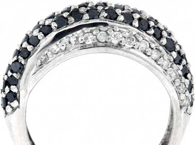 Black and White Diamond Dress Ring in 9ct White Gold