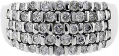 Second Hand Five Row Diamond Dress Ring in 9ct White Gold