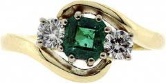 Crossover Emerald and Diamond Three Stone Ring