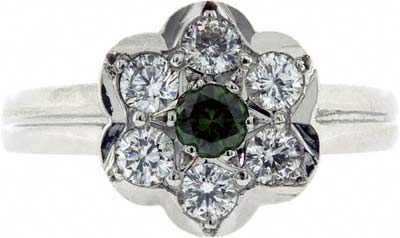 Green and White Diamond Cluster Ring