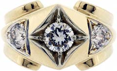 Gent's Heavy Three Stone Diamond Ring