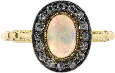 Second Hand Opal and Diamond Cluster