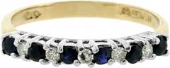 Second Hand Sapphire and Diamond Eternity Ring in 18ct Yellow Gold