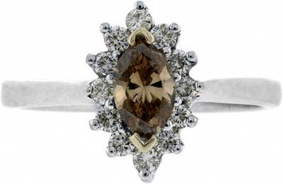 Natural Light Brown & White Diamond Cluster