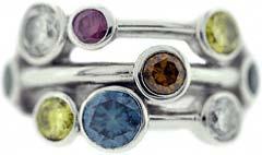 Triple Row Coloured Diamond Dress Ring