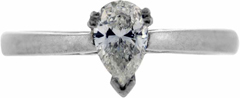 Second Hand Pear Shaped Diamond Solitaire in Platinum