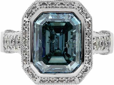 Emerald Cut Art Deco Style Ring In Platinum
