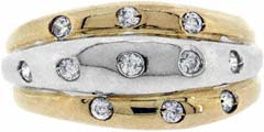 Two Colour Triple Band Dress Ring
